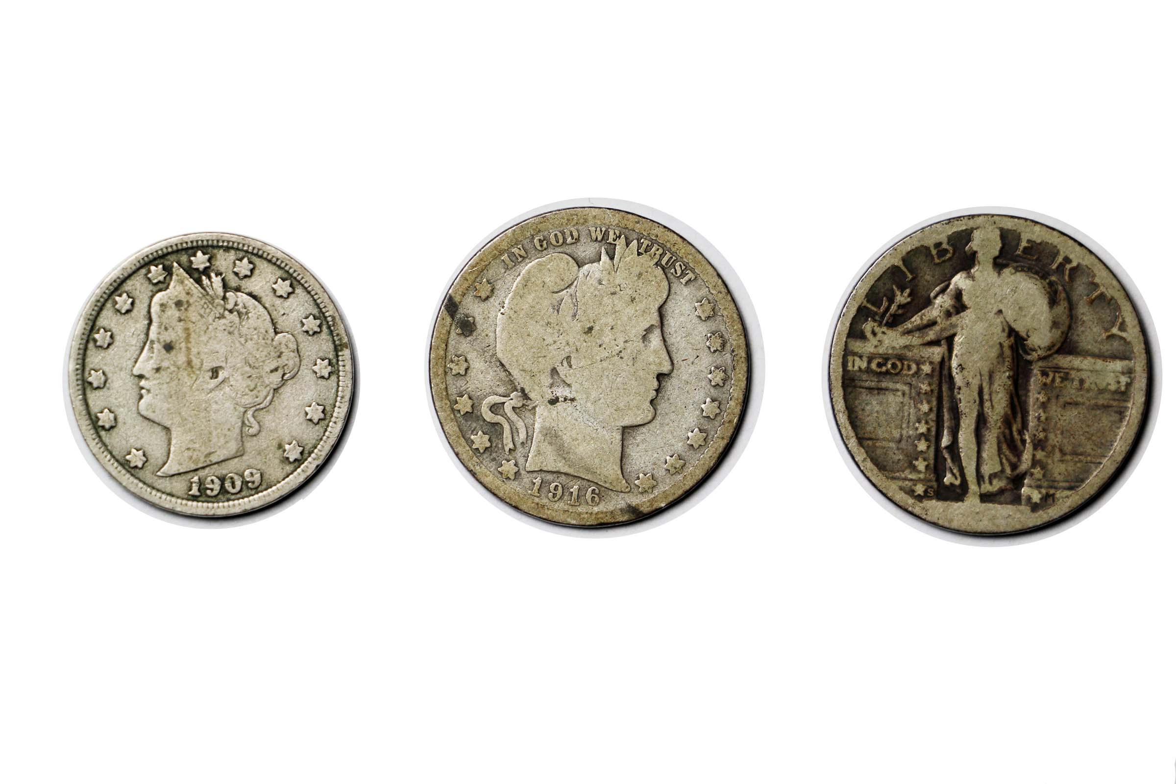 1892-1916 5 90/% Silver Barber Silver Quarter CULL Coins Antique LOT OF