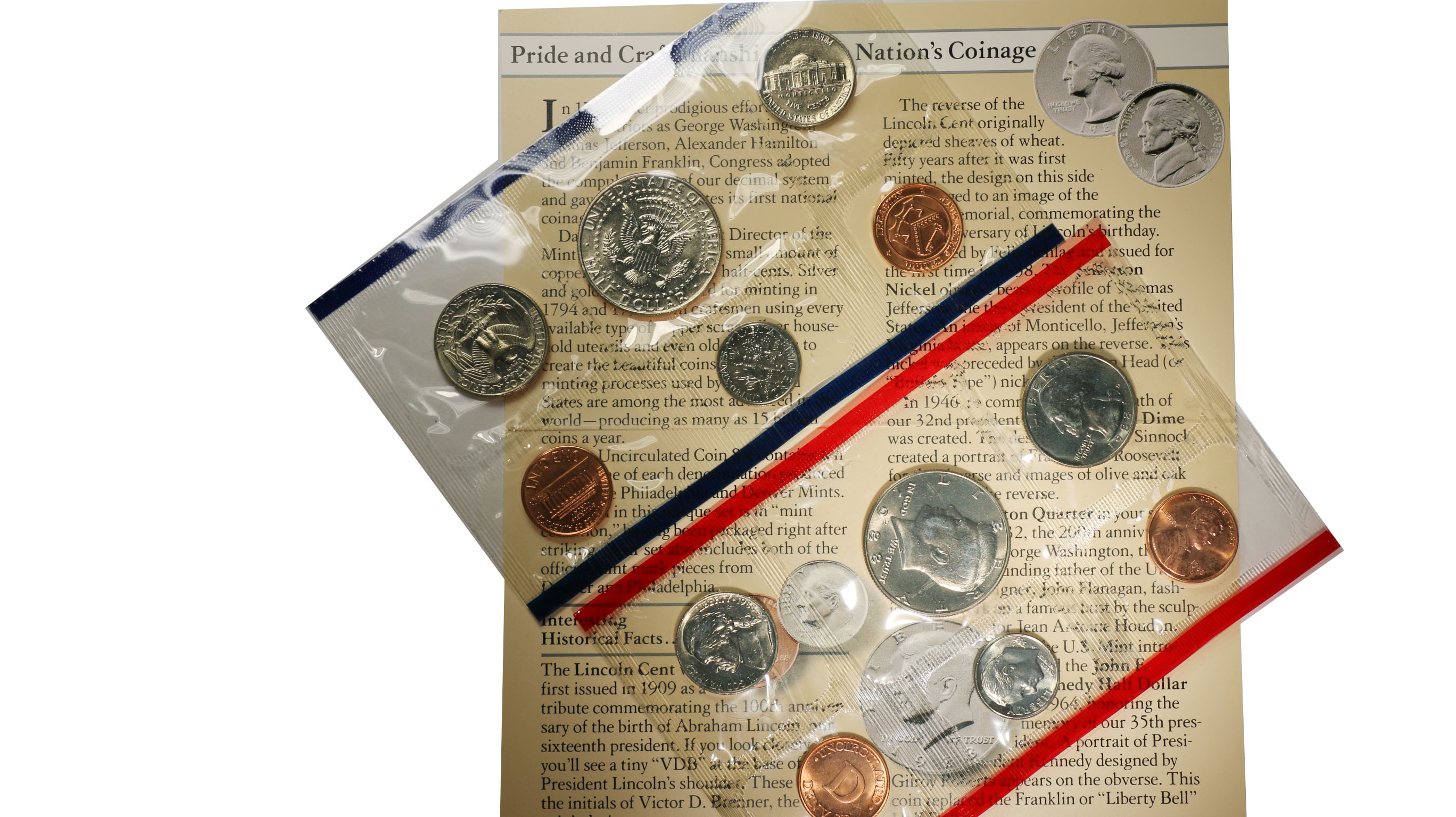 1988 P/&D Mint Set Brilliant Uncirculated US Coins in OGP W// Envelope /& COA