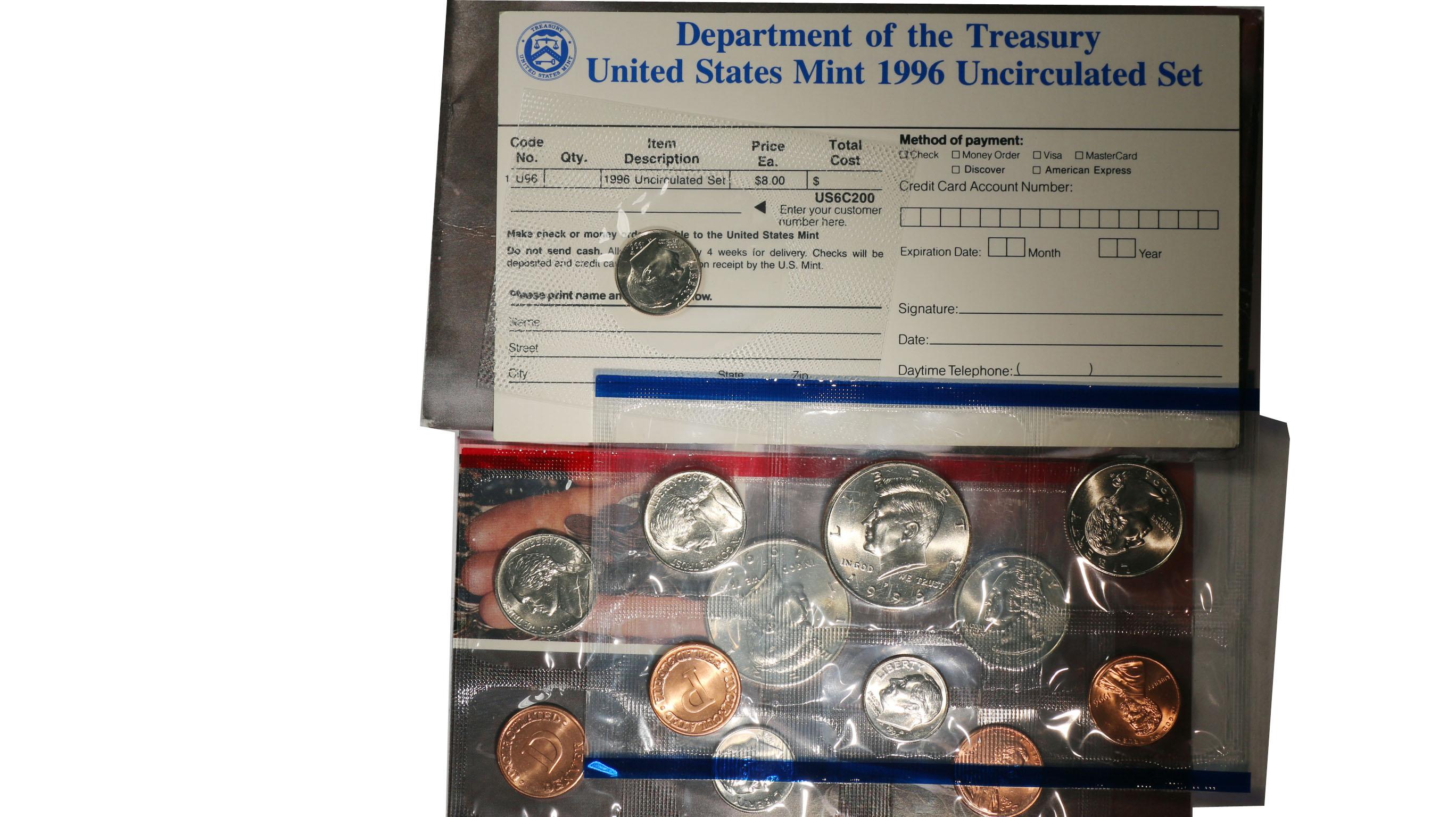 1995 1996 1997 1998 Mint sets  U.S Mint 4 Sets with COA and Key 96 W Dime