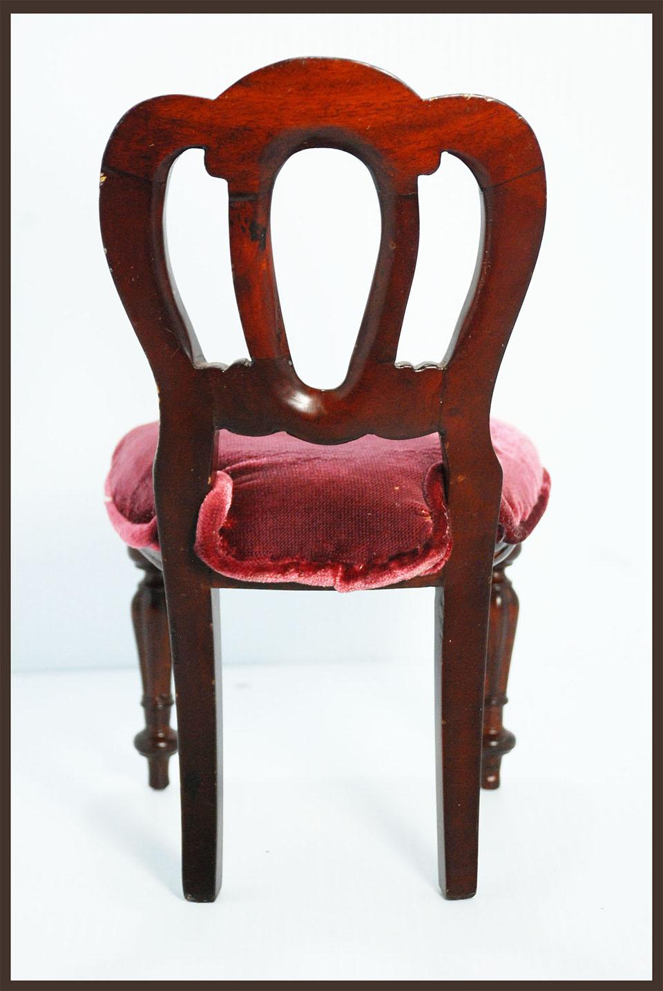Vintage Miniature Wood With Burgundy Velvet Upholstery