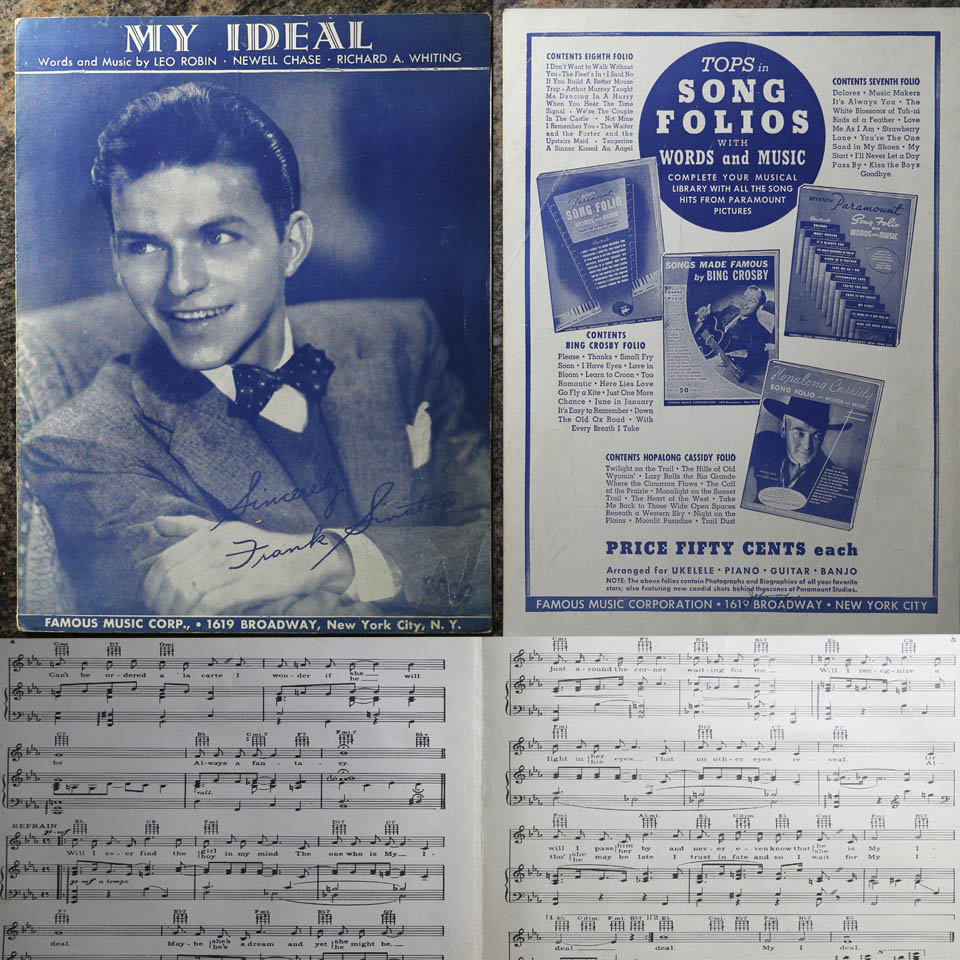 Details About Vintage My Ideal Frank Sinatra Sheet Music 1930 Copyright